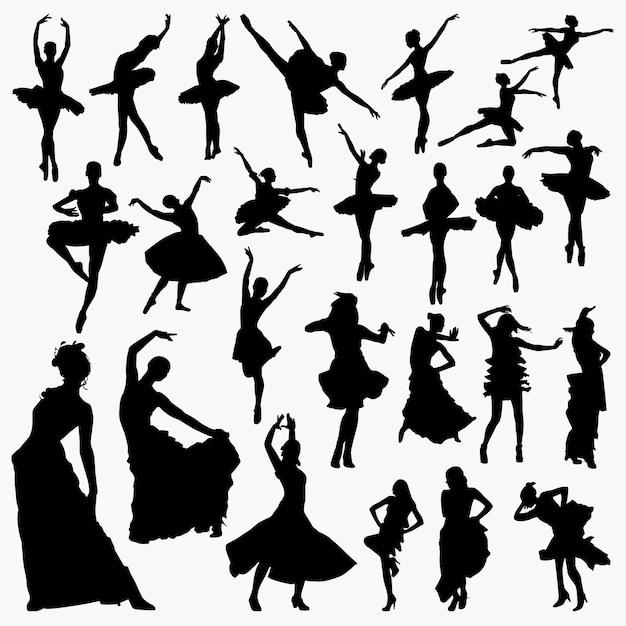 Silhouettes de danseuse de salsa Vecteur Premium