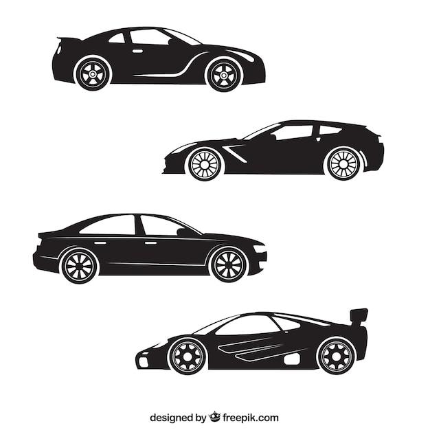 silhouettes de quatre voiture de sport t l charger des vecteurs gratuitement. Black Bedroom Furniture Sets. Home Design Ideas