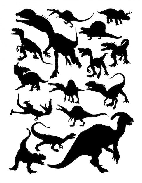 Silhouettes de dinosaures. Vecteur Premium