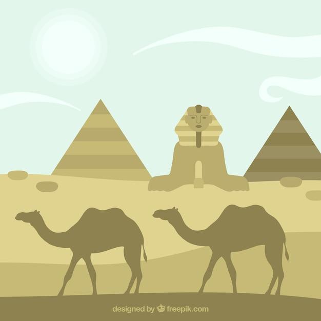 Silhouettes de l'egypte Vecteur gratuit