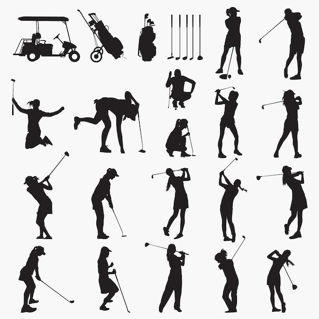 Silhouettes femme golfeur Vecteur Premium