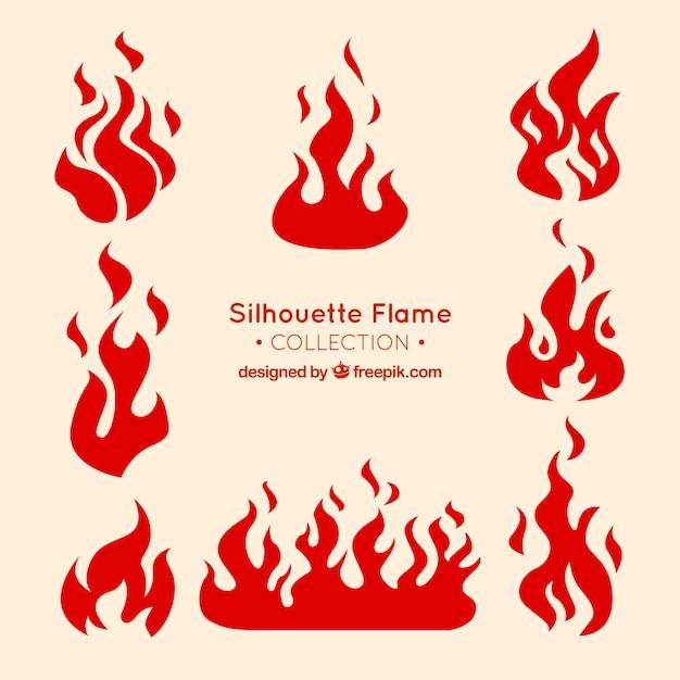 Silhouettes De Flammes Décoratives Vecteur gratuit