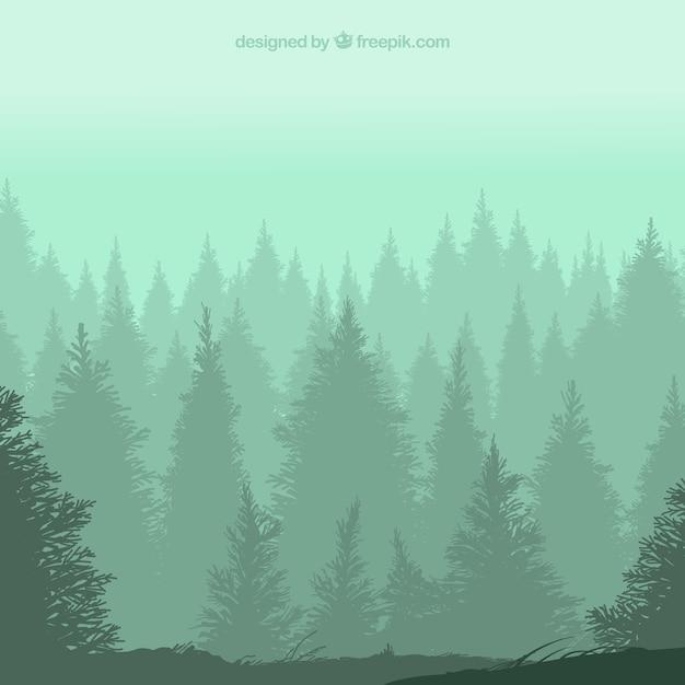 Silhouettes de forêt Vecteur gratuit