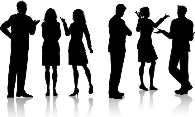 Silhouettes De Gens D'affaires Ayant Des Conversations Vecteur gratuit