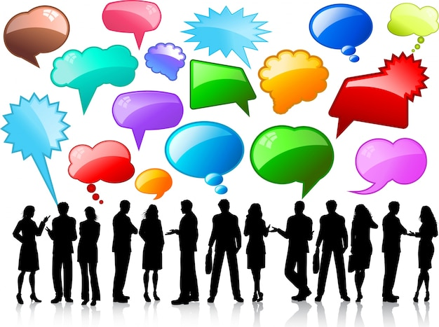 Silhouettes De Gens D'affaires En Conversation Avec Des Bulles De Discours Brillantes Vecteur gratuit