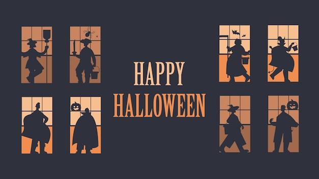 Silhouettes De Gens Dans Différents Costumes Célébrant Le Concept De Fête Halloween Heureux Lettrage Carte De Voeux Illustration Vectorielle Pleine Longueur Horizontale Vecteur Premium