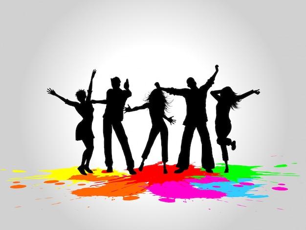 Silhouettes de gens qui dansent sur un fond grunge Vecteur gratuit