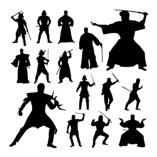 Silhouettes de geste samurai. Vecteur Premium