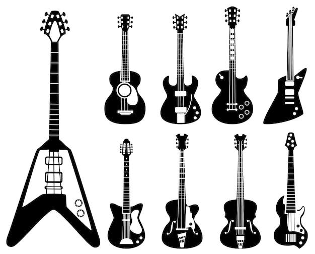 Silhouettes De Guitare. Instruments De Musique Symboles Noirs Guitares Acoustiques Et Rock. Instrument De Silhouette électrique Pour Illustration De Guitare Rock Et Acoustique Vecteur Premium