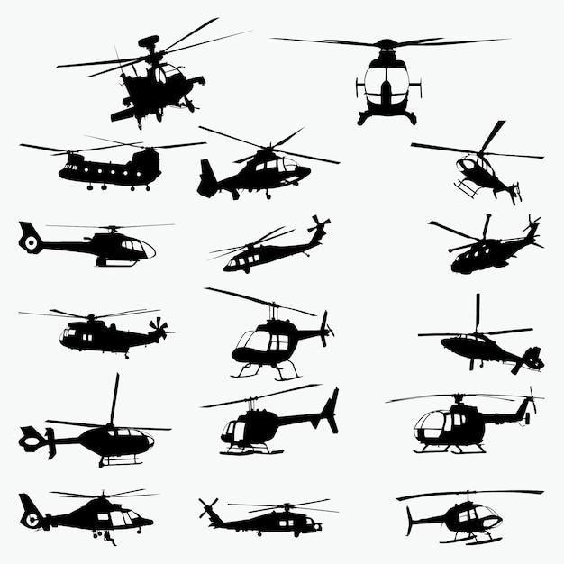 Silhouettes D'hélicoptères Vecteur Premium