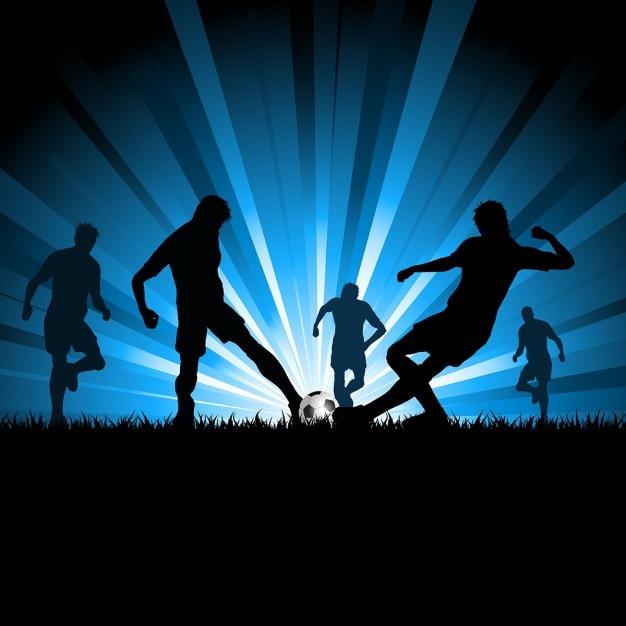 Silhouettes D'hommes Qui Jouent Au Soccer Vecteur gratuit