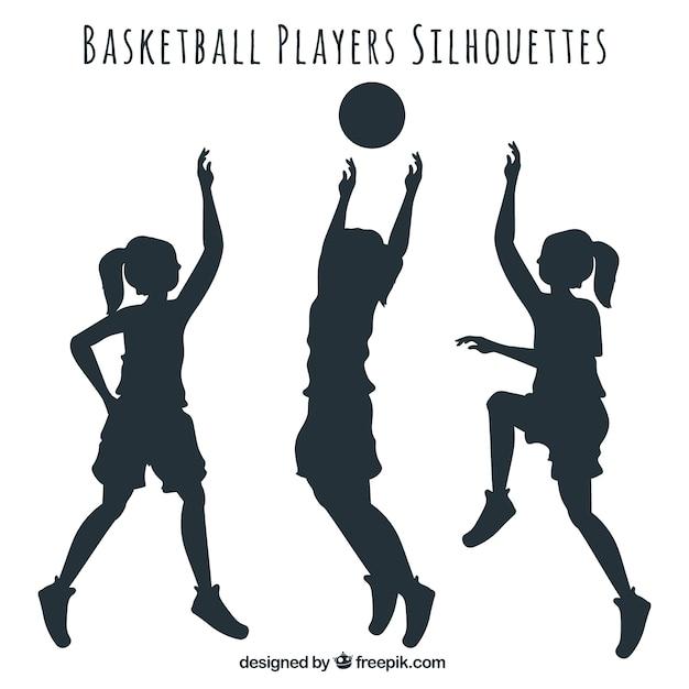 Silhouettes de joueurs de basket-ball emballent Vecteur gratuit