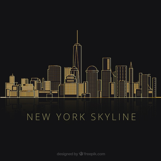 Silhouettes de new york city Vecteur gratuit