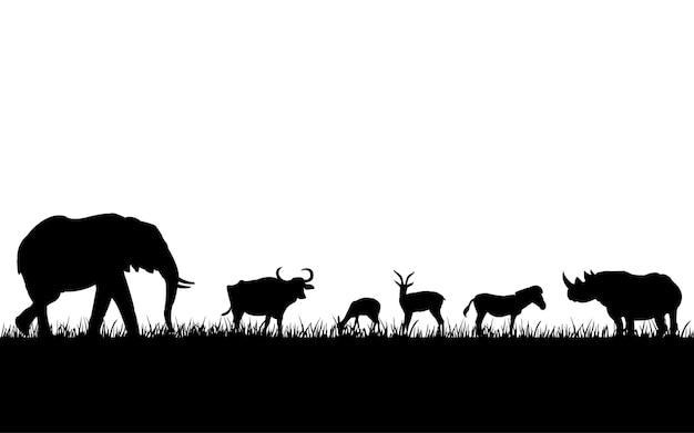 Silhouettes noires d'animaux sauvages Vecteur Premium