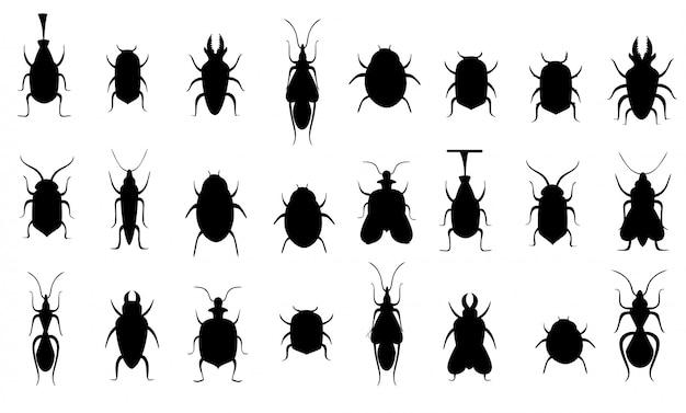 Silhouettes Noires. Collection De Bugs. Ensemble De Silhouette D'insectes. Illustration Sur Fond Blanc. Page Du Site Web Et Application Mobile Vecteur Premium