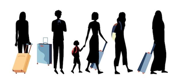 Silhouettes Noires De Personnes De Différentes Nations Avec Des Bagages Dans Le Terminal De L'aéroport. Groupe De Gens D'affaires, Les Touristes Avec Des Enfants Avec Des Valises Partent En Vacances. Vecteur Premium
