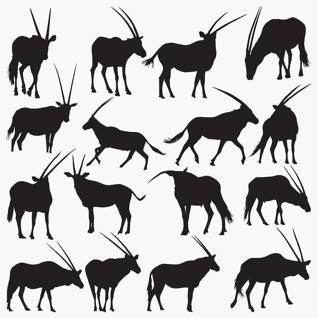Silhouettes d'oryx Vecteur Premium