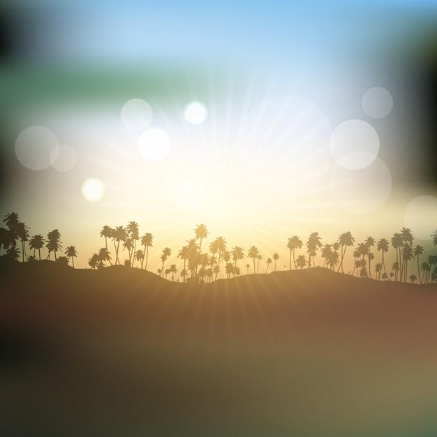 Silhouettes de palmiers contre ciel coucher de soleil Vecteur gratuit