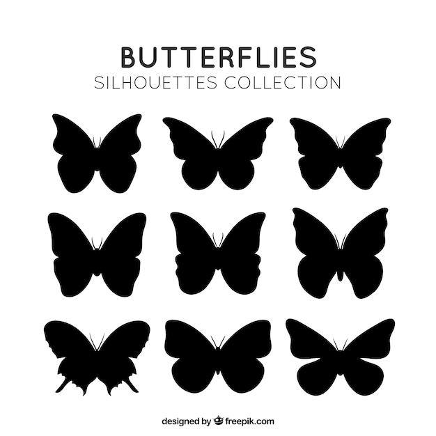 Silhouettes papillons pack Vecteur gratuit