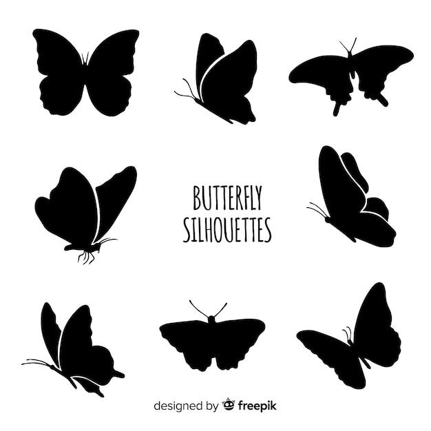 Silhouettes De Papillons Volants Vecteur Premium