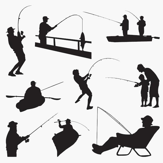 Silhouettes de pêcheur Vecteur Premium