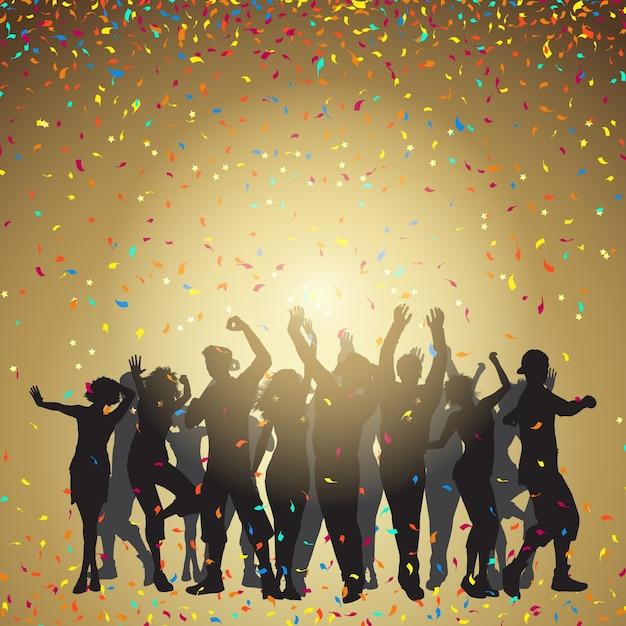 Silhouettes de personnes dansant sur fond de confettis Vecteur gratuit