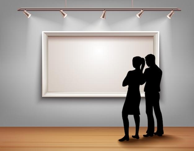 Des silhouettes de personnes debout devant un cadre photo dans un intérieur de galerie d'art Vecteur gratuit