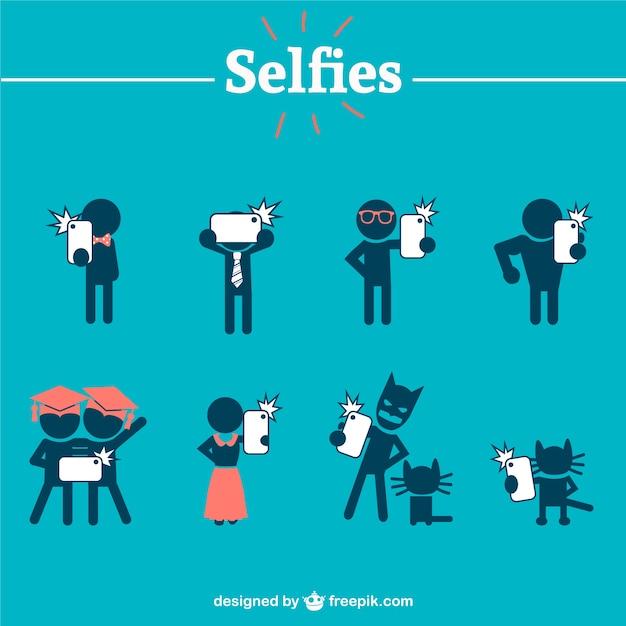 Des Silhouettes De Personnes Prenant Selfies Vecteur gratuit