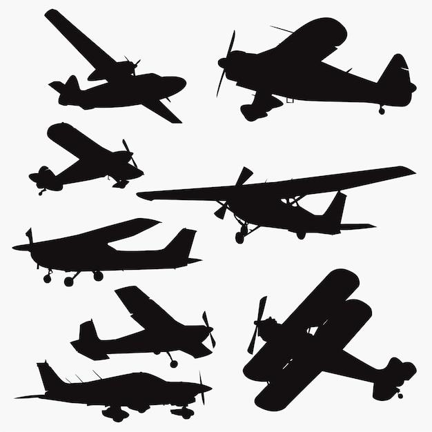 Silhouettes de petit avion Vecteur Premium
