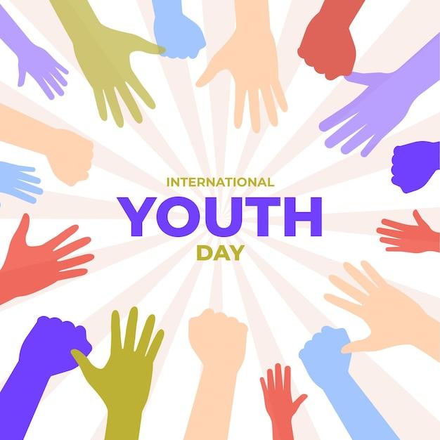Silhouettes Pour La Célébration De La Journée De La Jeunesse Vecteur gratuit