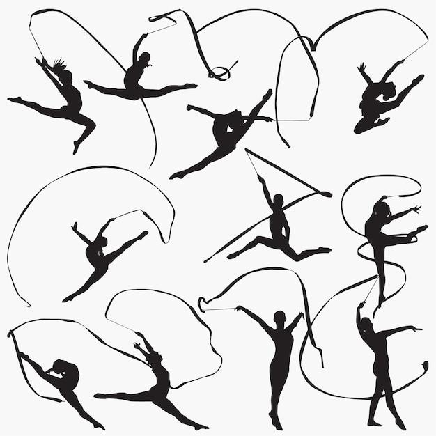 Silhouettes de ruban de gymnastique rythmique Vecteur Premium