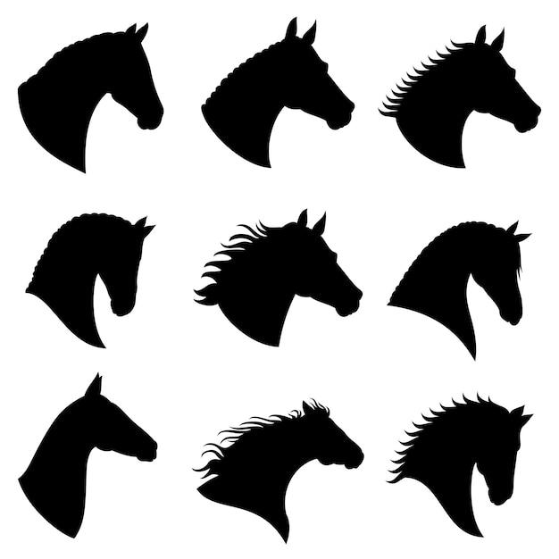 Silhouettes de vecteur tête de cheval Vecteur Premium