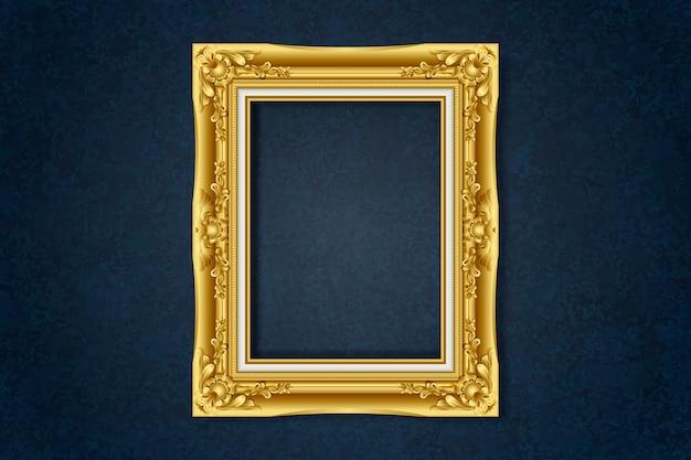 Simple cadre doré sur le mur Vecteur gratuit