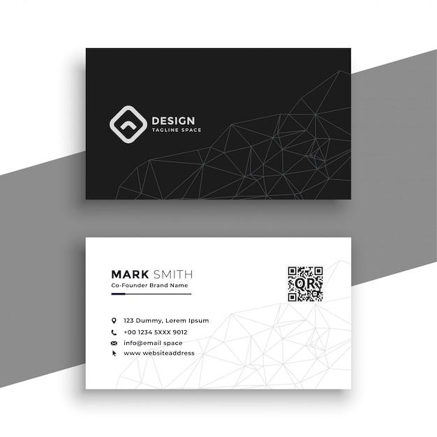 Simple carte de visite noir et blanc Vecteur gratuit