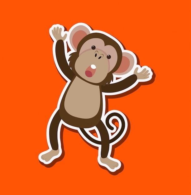 Un simple personnage de singe Vecteur Premium