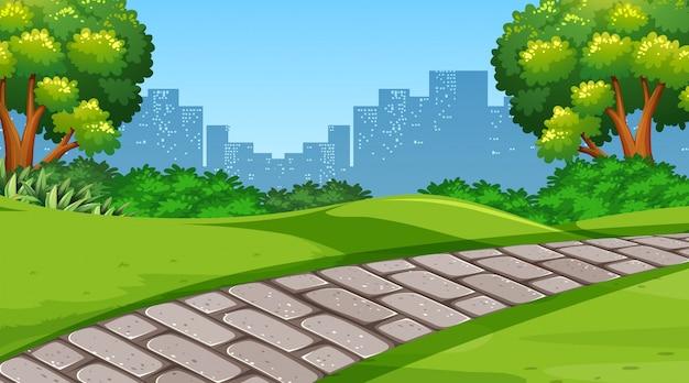 Une simple scène de parc Vecteur gratuit