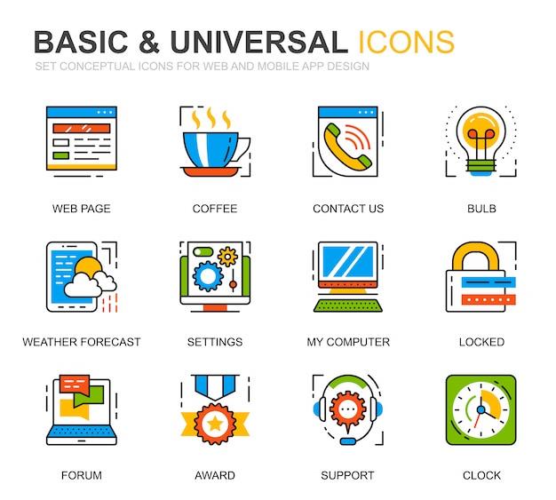 Simple set basic line icons pour site web Vecteur Premium