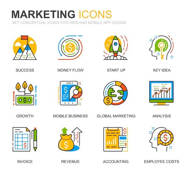 Simple set business et marketing line icons pour site web Vecteur Premium