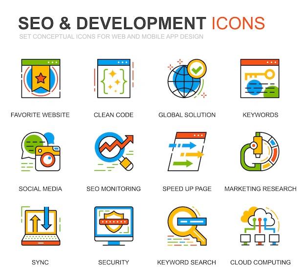 Simple set seo et développement line icons for website Vecteur Premium