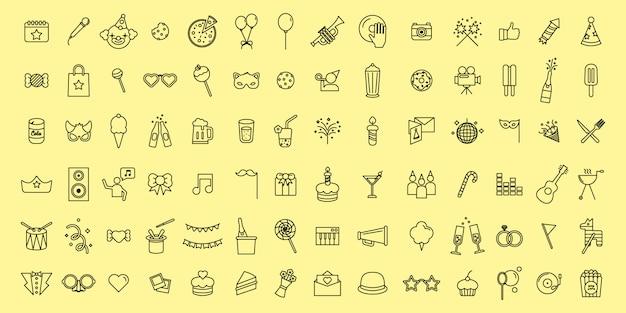 Simple set vector icônes de fête et de fête fine ligne Vecteur Premium
