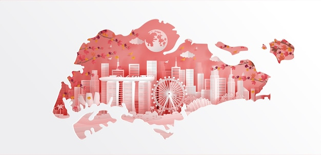 Singapour carte et point de repère Vecteur Premium