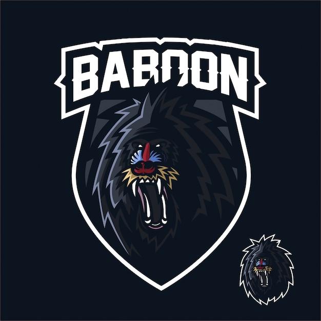 Singe babouin esport gaming mascotte logo modèle Vecteur Premium