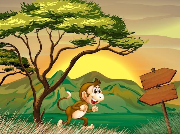 Un singe en cours d'exécution avec un panneau de flèche en bois Vecteur gratuit