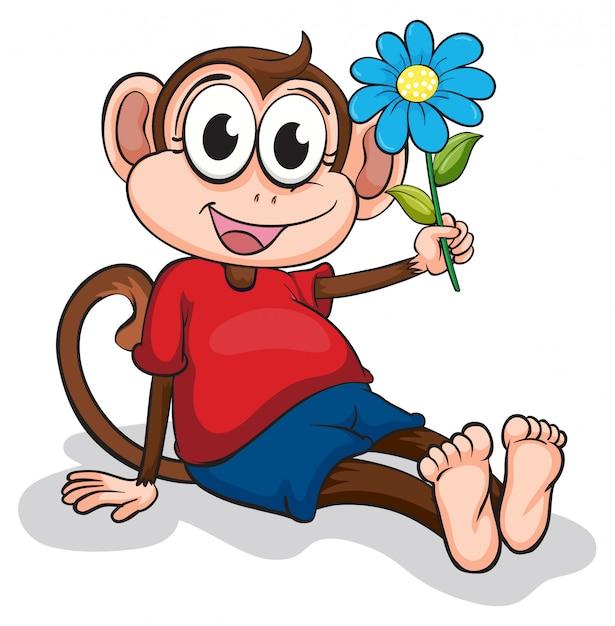 Un singe avec une fleur bleue Vecteur gratuit