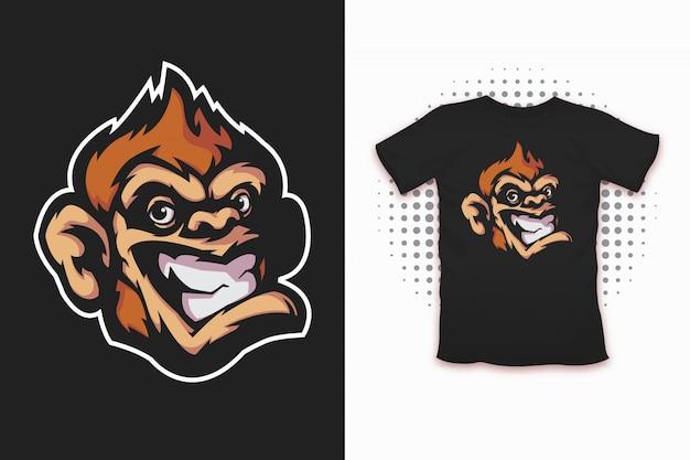 Singe imprimé pour la conception de t-shirts Vecteur Premium