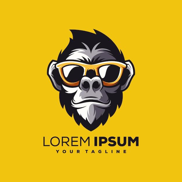 Singe logo design vecteur Vecteur Premium
