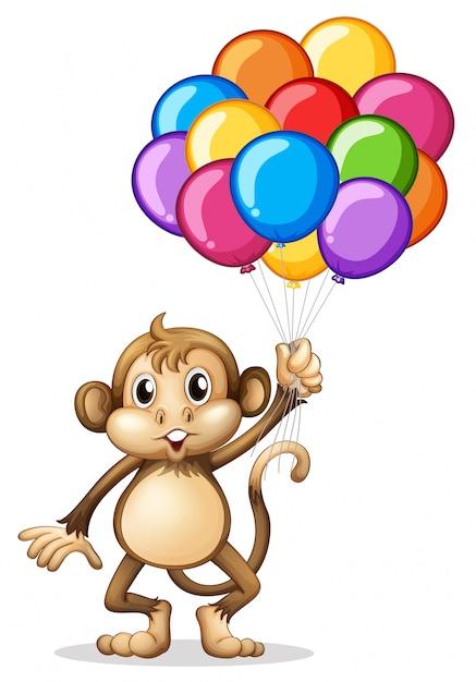 Singe mignon avec des ballons colorés Vecteur gratuit