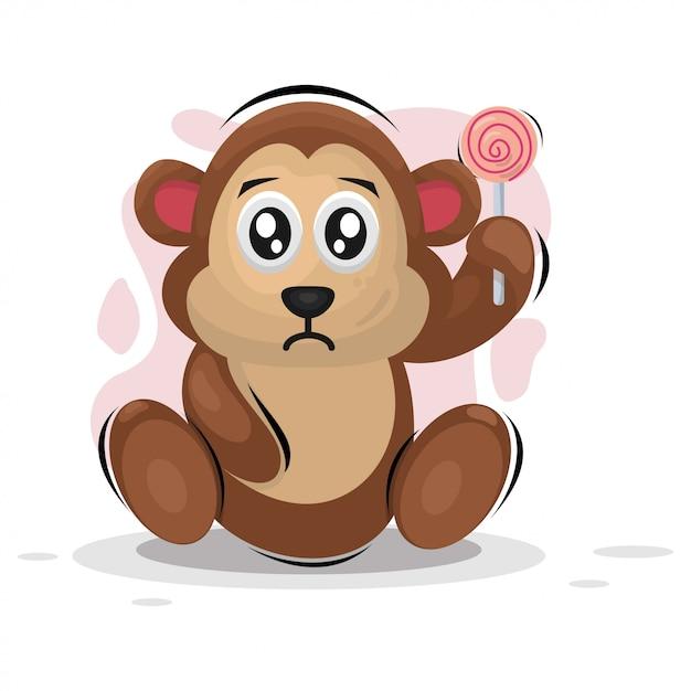 Singe Mignon Avec Dessin Animé Mascotte Bonbon Vecteur Premium