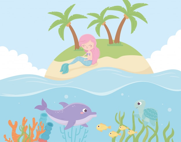 Sirène Dans Les Dauphins De L'île Caricature De Récif Sous La Mer Illustration Vectorielle Vecteur Premium