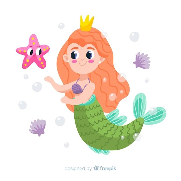 Sirène dessiné à la main avec étoile de mer Vecteur gratuit